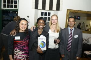 PhD student Luz Helena Hanauer (Summer Academy participant 2011), Nokuhle Madolo (co-editor),  Franziska Sucker (co-editor) at the book launch of International Economic Law - Voices of Africa (from left to right)